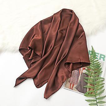 35in Cetim Cabeça lenços vintage quadrado sensação de seda, marrom escuro