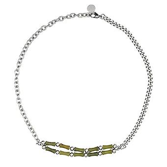 Original Olive Jade Bamboo Joint Titanium Steel Splicing Necklace Simple And Fresh Fashion Couple Jewelry Accessories