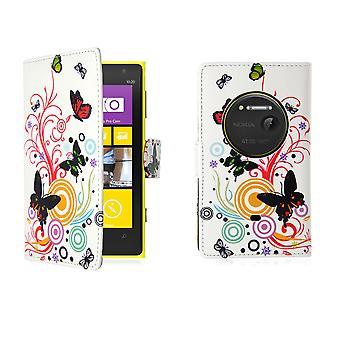 Design Buch PU Leder Case Cover für Nokia Lumia 1020 - Farbe Schmetterling