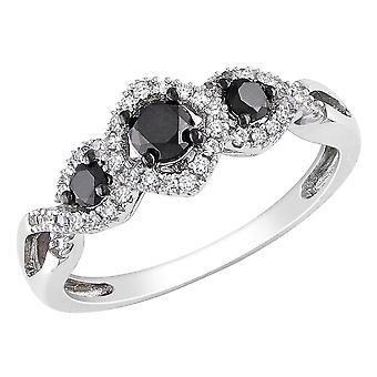 Black and White Diamond Three Stone Ring 1/2 Carat (ctw) in 10k White Gold