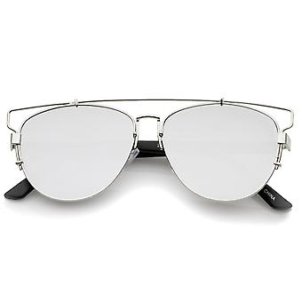 Tecnológica trave Metal Flash espelho lente plana óculos de sol aviador 54mm