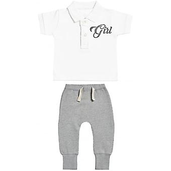 Verwend rotte meisje Design Baby Polo T-Shirt & Baby Joggers Outfit Set