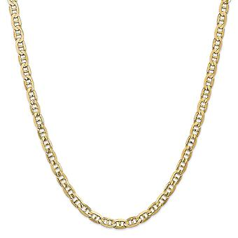 14k Yellow Gold Solid Polished Lobster Claw Closure 6.25mm Concave Nautical Ship Mariner Anchor Chain Anklet 9 Inch Lobs