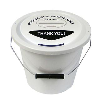 6 Charity Money Collection Buckets 5 Litres - White