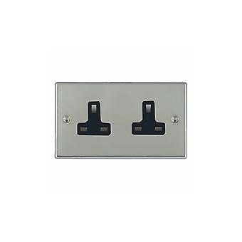 Hamilton Litestat Hartland Bright Stainless Chrome 2g 13A Unswitched Socket BL