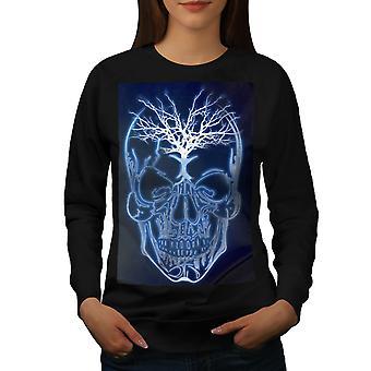 Lightning Skull Women BlackSweatshirt   Wellcoda