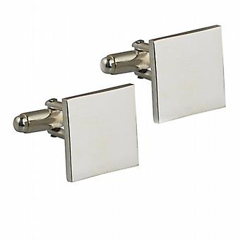 Silver 15mm square plain swivel Cufflinks