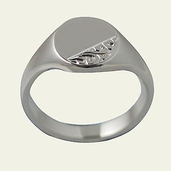 Silver 14x12mm hand engraved solid oval Signet Ring Size Z