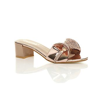 Ajvani womens lage midden blok hiel sparkly diamante boog glijden op mule sandalen
