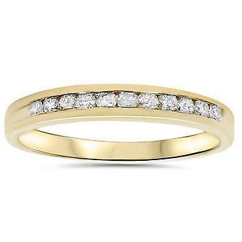 1 / 4ct 14 K Gelb Gold Diamond Wedding Stack Schutzring