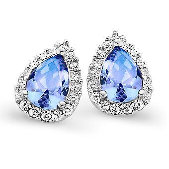 Orphelia Silver 925 Earring Drop Blue Topaz kleur zirkonium ZO-7226/BT