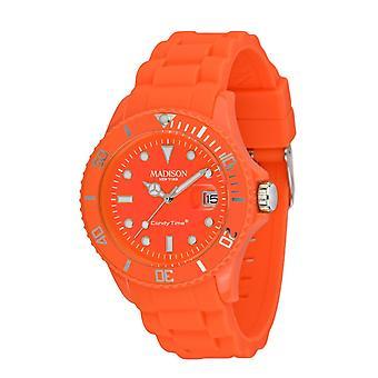 Candy tijd door Madison N.Y.. horloge unisex U4503-51-1 neon oranje
