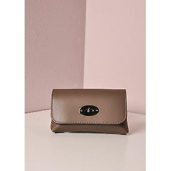 Liten Leather Clutch kjeden Bag gull