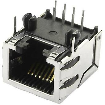 Modular mounted socket shielded Cat 5 with shield tabs Socket, horizontal mount Number of pins: 10 P8C SS70100-011F Nickel-coated, Metal BEL Stewart Connectors