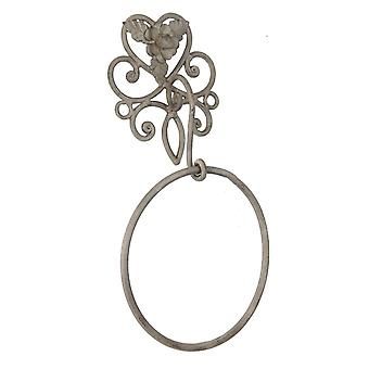 Clayre & Eef guest towel holder country house towel ring Shabby metal 27 x 7 x 31 cm