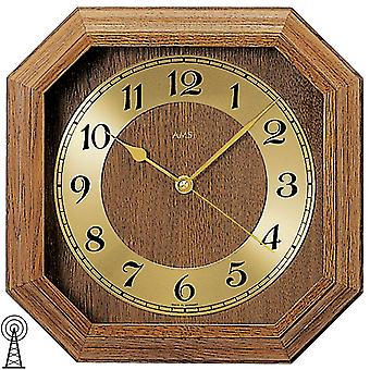 Radio controlled wall clock clock radio clock square wood rustic gold AMS 26 x 26 cm