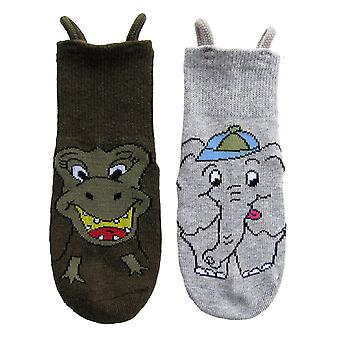 Dinosaur & Elephant EZ SOX Socks - 2 Pairs, 2 to 3 Years
