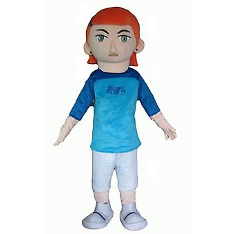 red-haired girl SPOTSOUND mascot, with a white and blue outfit