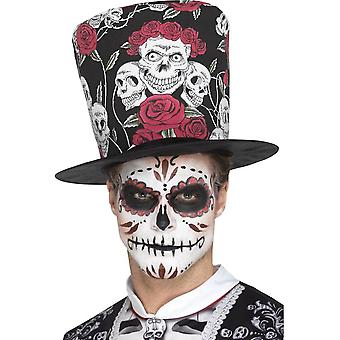 Day of the Dead Skull & Rose Top Hat, Multi-Coloured