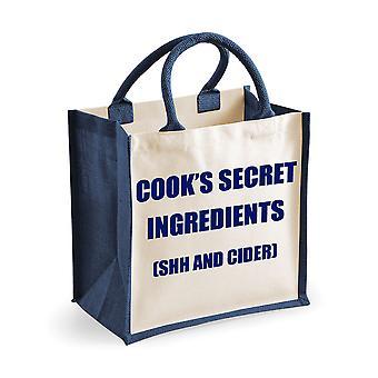Mittlere Jute Tasche Cook geheimen Zutaten (Shh und Apfelwein) dunkelblaue Tasche