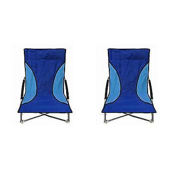Nalu azul 2 cadeiras de praia de assento baixo dobradura