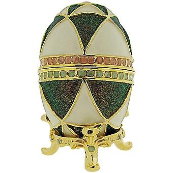 WC White & Green Faberge-Style Egg Trinket Jewellery Box E5