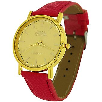 Relda Ladies Analogue Jumbo Goldtone Dial & PU Pink Strap With Buckle REL61