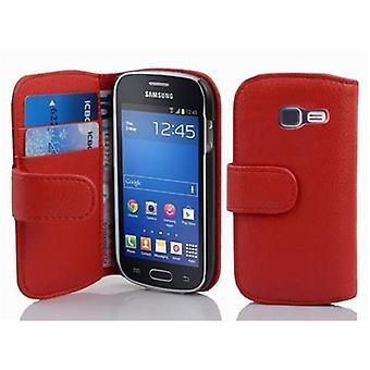 Cadorabo sag for Galaxy TREND LITE sag dækning - mobiltelefon sag i struktureret imiteret læder med stå funktion og kort rum - Case Cover Beskyttende sag Book Folding Style