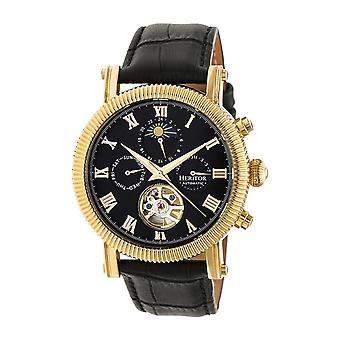 Heritor Winston automático relógio de couro-banda semi esqueleto - preto/ouro
