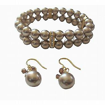 Dobbelt Strands Swarovski Bronze perler elastisk armbånd øreringe