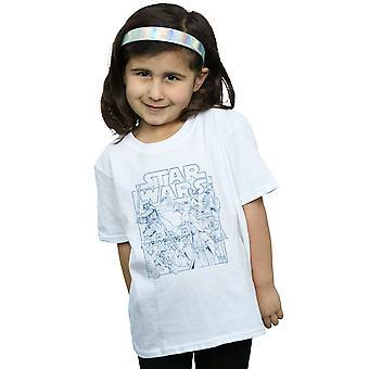 Star Wars ragazze delineato Sketch t-shirt