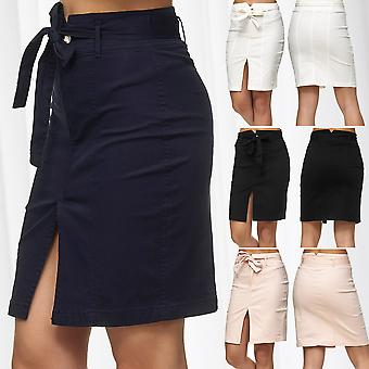 Women's Skirt Front Slit and Tie Belt Knee-Length Stretch Midi Skirt Black White