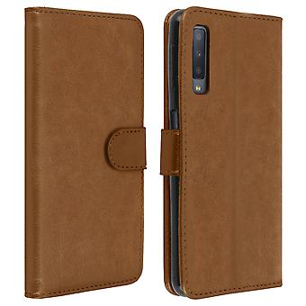 Flip wallet case, magnetic cover with stand for Samsung Galaxy A7 2018 - Brown