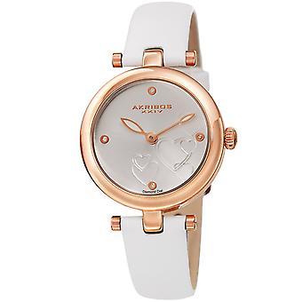 Akribos XXIV AK1044WTR Heart Embossed Diamond Marker Leder-Uhr
