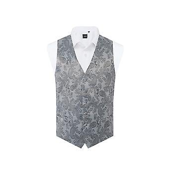 Dobell Mens Grey Paisley Waistcoat Regular Fit