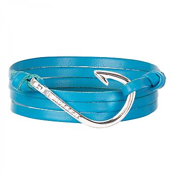 Holler Kirby Silberpoliertes Hook/Light Blue Leather Armband HLB-04SRP-L18
