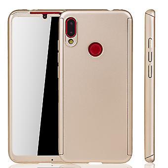 Xiaomi Redmi Note 7 Handy-Hülle Schutz-Case Full-Cover Panzer Schutz Glas Gold
