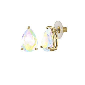 Eternal Collection Seduction Teardrop Aurora Borealis Crystal Gold Tone Stud Pierced Earrings