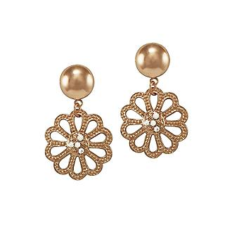 Eternal Collection Marguerite Clear Crystal Rose Gold Tone Drop Pierced Earrings