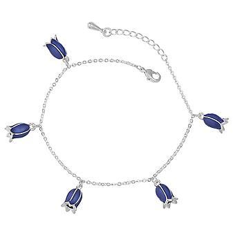 Evige samling Bluebell emalje Finish sølv Tone charme armbånd