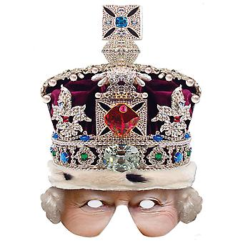 Dronning med Crown Single 2D Card Party Halv Fancy Dress Mask