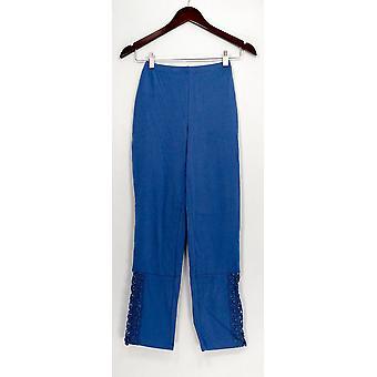 Femmes avec pantalon de contrôle XXS Slim Leg Ankle Pants w/ Lace Details Blue A265427