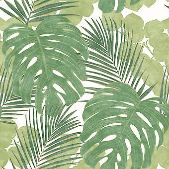 Rasch Jungle Large Leaf Wallpaper Palm Botanical Floral Tropical Green White