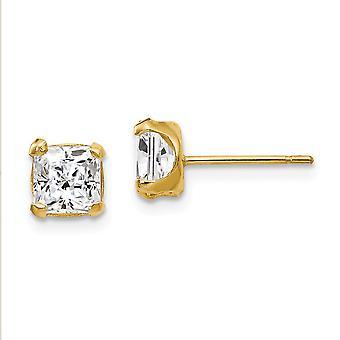 14k Gul Guld polerad 5mm Square CZ Cubic Zirconia Simulerade Diamond Post Örhängen Åtgärder 5x5mm smycken gåvor för W