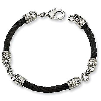 Stainless Steel Polished IP black-plated Fancy Lobster Closure Black Plated Bracelet - 9 Inch
