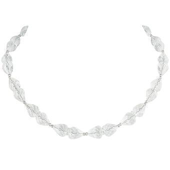 Evig samling raffinement klart krystall sølv tone halskjede
