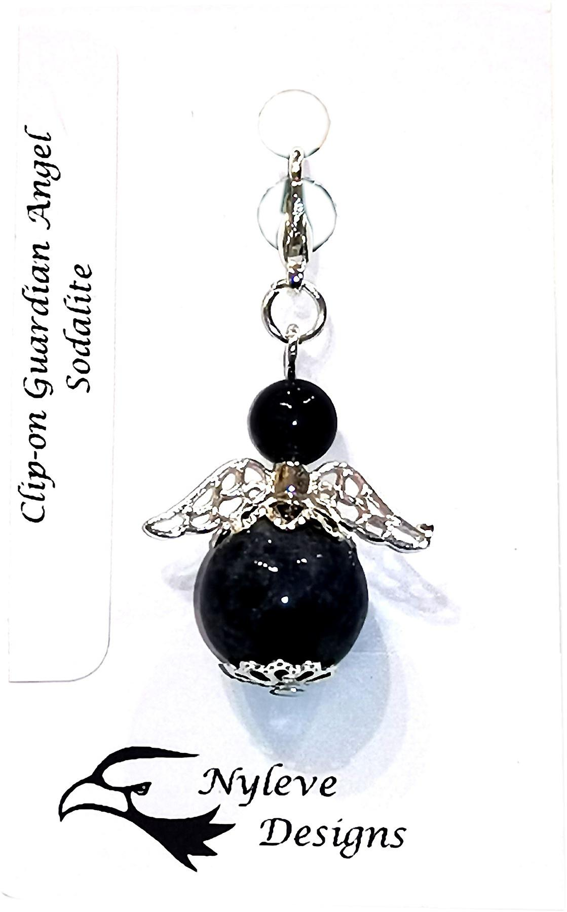 Nyleve Designs handmade Clip-on Semi-precious Sodalite Gemstone Guardian Angel in Silver Plated