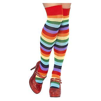 Womens Multi Coloured gestreift Clown Socken Fancy Dress Zubehör