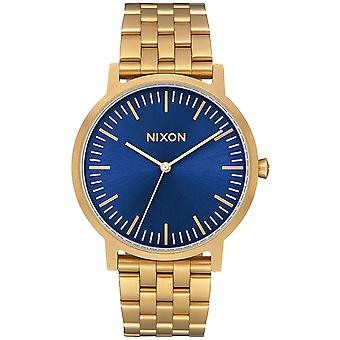 Nixon the porter watch for Analog Quartz Men with stainless steel bracelet plated in A10572735 gold