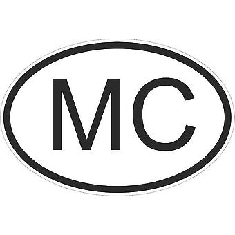 Autocollant Sticker Drapeau Oval Code Pays Voiture Moto Monaco Monegasque Mc